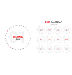 2019 circle calendar design vector image