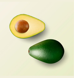 3d realistic whole and cut half avocado vector image