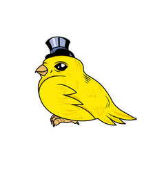 A cute canary bird with a top hat vector