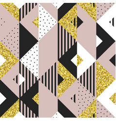 Abstract geometric background golden glitter vector