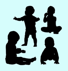 Babies activity and training silhouette vector