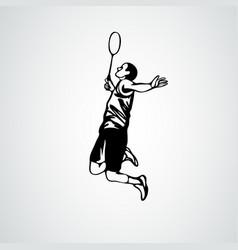 Badminton player in smash action vector