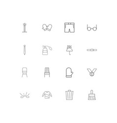 Beauty dress and clothes simple linear icons set vector