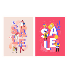 Big sale poster with customers and shopping bags vector