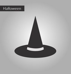Black and white style icon halloween witch hat vector