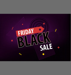 black friday dark sale red promo tag vector image