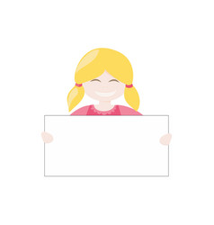 blond hostess girl smiling holding and showing vector image