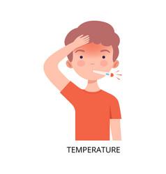 Boy suffering from temperature symptom viral vector