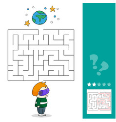 boy with vr headset in space maze games find the vector image