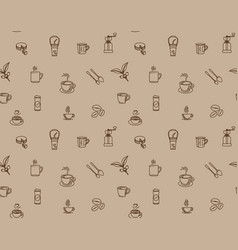 brown coffee icon set pattern seamless design vector image