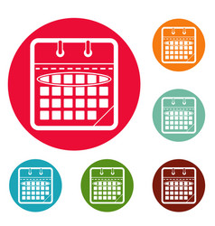 calendar day icons circle set vector image