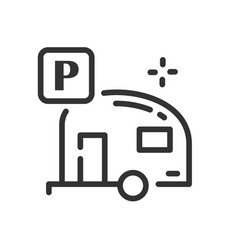 Camper icon in simple one line style vector