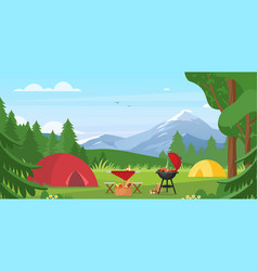 cartoon flat tourist camp with picnic spot and vector image