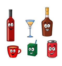 Cartoon set of assorted beverages or drinks vector image