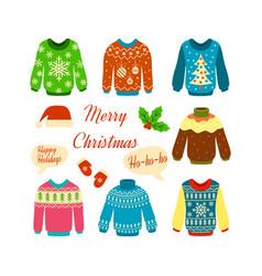 christmas jumper set woolen xmas ugly sweaters vector image