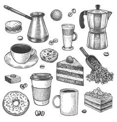 Coffee and desserts sketch pot and maker vector