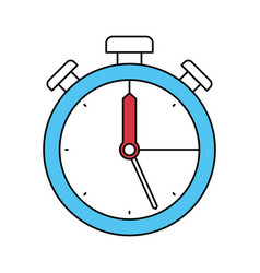 Color sectors silhouette of stopwatch icon vector