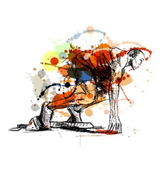 Colored hand sketch athlete on track starting vector