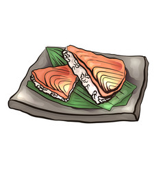 coloring cartoon of japanese food with rice and vector image