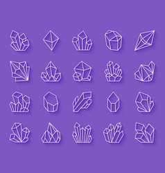 Crystal simple paper cut icons set vector