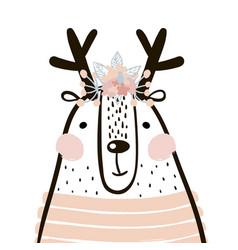 cute cartoon dear girl in scandinavian style vector image