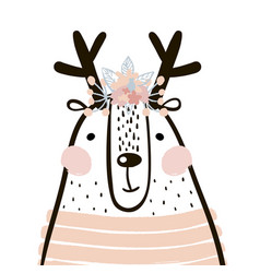 Cute cartoon dear girl in scandinavian vector