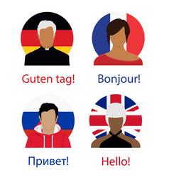 different language speech hello concept russian vector image