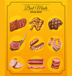 Different types of steaks on menu vector
