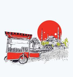 Digital blue mosque and simit vendor cart vector