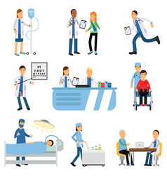 doctor with patient nurse with dropper trolley vector image