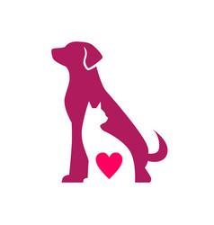 Dog cat love pet negative space logo icon vector