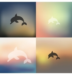 Dolphin icon on blurred background vector
