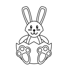 Easter bunny with broken egg thin line vector