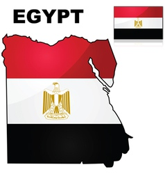 Egypt map and flag vector