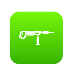 Electric drill perforator icon digital green vector