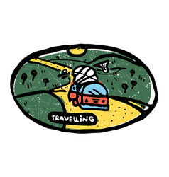Emblem traveling bus with luggage vector