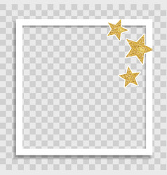 empty photo frame template with glossy star for vector image