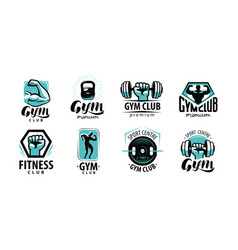 fitness gym logo or label sport bodybuilding vector image