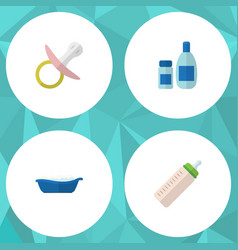 flat baby set of bathtub nipple feeder and other vector image