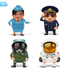 Flight professions set vector
