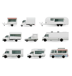 Food trucks realistic set vector