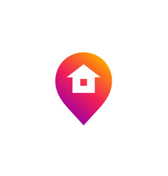 geotag with house or location pin logo icon design vector image