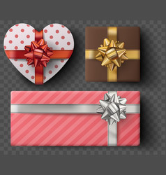 gift box set with golden bow ribbons isolated on vector image