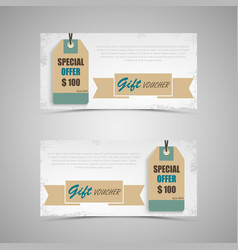 gift voucher with vintage in retro style template vector image