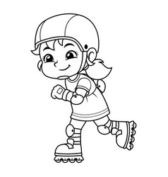Girl excersicing with her rollerblades bw vector