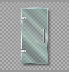 glass door with metallic handle and hinges vector image
