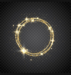 Glitter gold circle frame with space for text vector