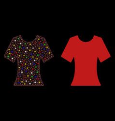 Glowing mesh network lady t-shirt icon with flare vector