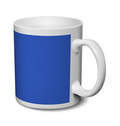 gray and blue mug realistic 3d mockup on a white vector image