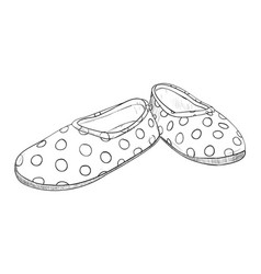 Hand drawn sketch with childrens slippers vector
